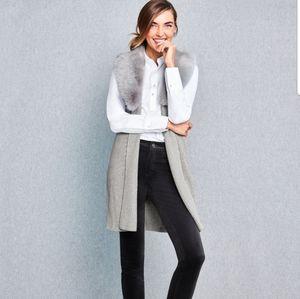 Talbots Faux-Fur Collar Rib-knit Vest in dove gray